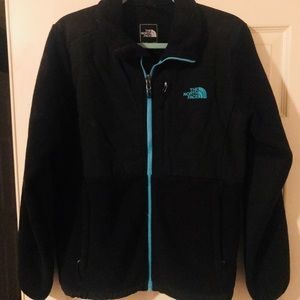 Black Denali north face with light blue trim